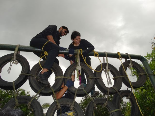 Students taking part in outbound activities